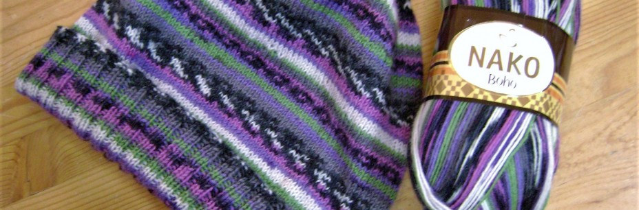 Hat knit from Nako Boho